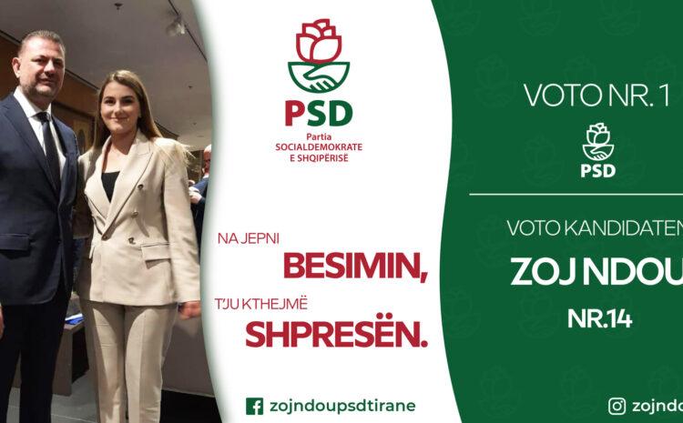 Zoj Ndou kandidon në Tiranë në njësinë 4 për Partinë SocialDemokrate